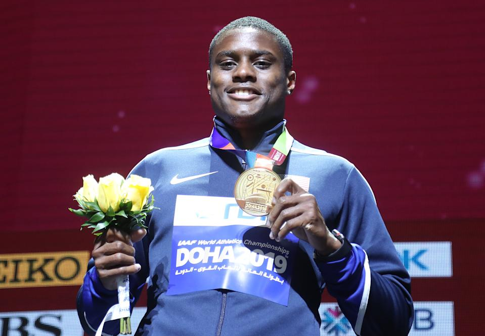 Gold medalist Christian Coleman of the US during the medal ceremony.