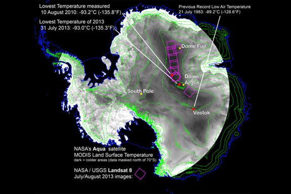 With remote-sensing satellites, scientists have found the coldest places on Earth, just off a ridge in the East Antarctic Plateau. The coldest of the cold temperatures dropped to minus 135.8 F (minus 93.2 C) -- several degrees colder than the p