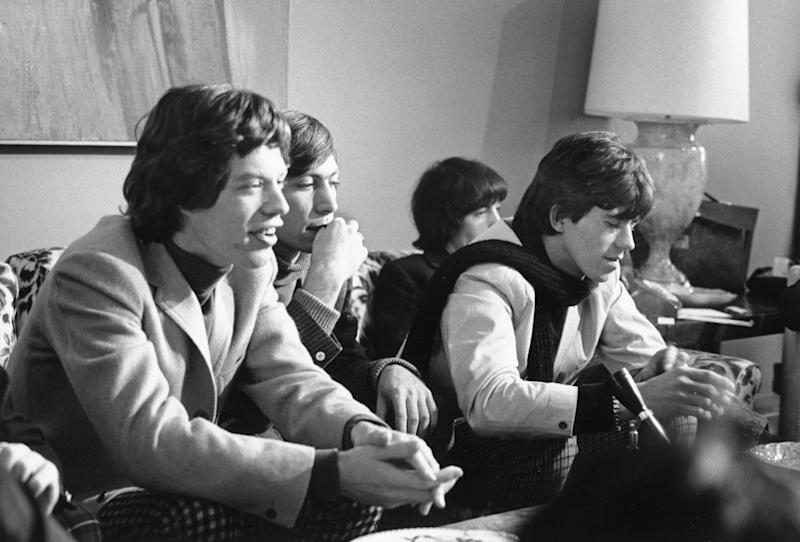 NEW YORK - OCTOBER 28: Rock and roll band 'The Rolling Stones' hold court at a press conference at the New York Hilton on October 28, 1965 in New York City, New York. (Photo by Michael Ochs Archives/Getty Images)