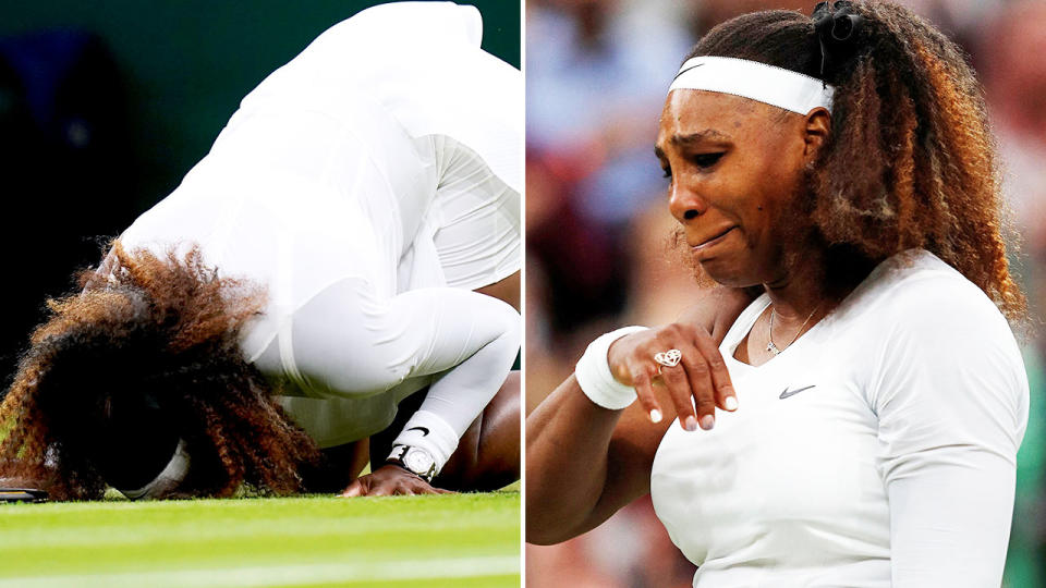 Serena Williams, pictured here in floods of tears as she quit Wimbledon in the first round.
