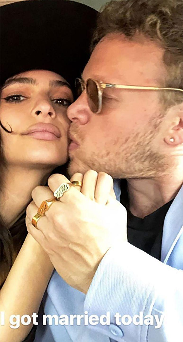Last month Em, who rocketed to fame after appearing in Robin Thicke's infamous Blurred Lines music video, revealed she'd tied the knot with Sebastian Bear-McClard. Source: Instagram/emrata