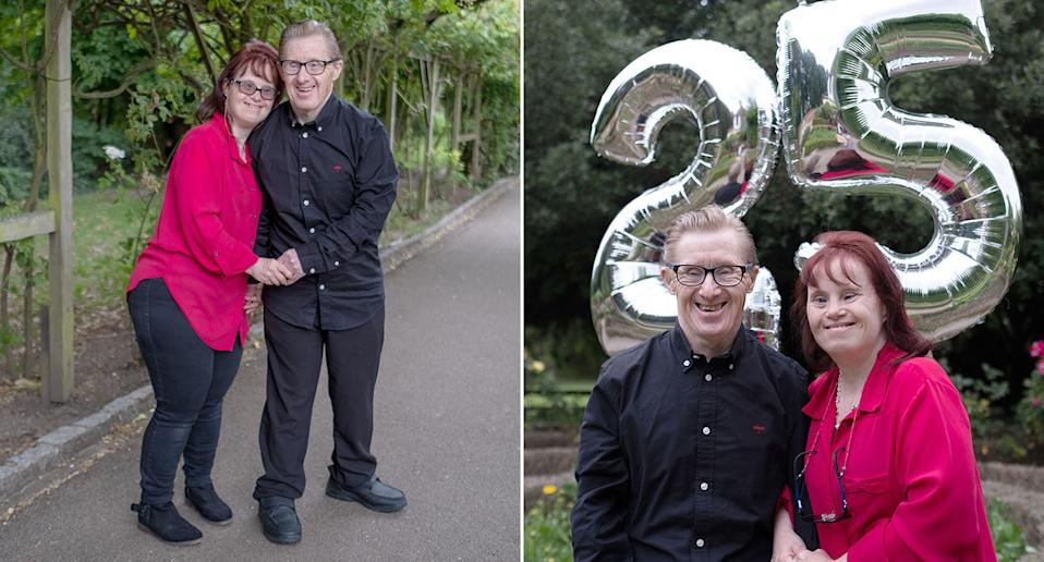 Maryanne and Tommy Pillings celebrate their 25th wedding anniversary but have been forced to spend the past seven months shielding. (Caters)