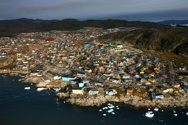 An aerial view of the town of Ilulissat, Greenland. Photo: Uriel Sinai/Getty Images