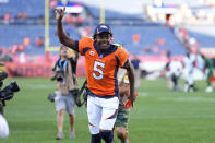 Denver Broncos quarterback Teddy Bridgewater (5) leaves the field after an NFL football game against the New York Jets, Sunday, Sept. 26, 2021, in Denver. (AP Photo/Jack Dempsey)