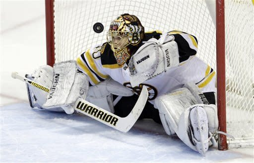 Boston Bruins goalie Tuukka Rask, of Finland, watches the game-winning goal bounce out of the net by Buffalo Sabres' Derek Roy, not shown, after a shootout in an NHL hockey game in Buffalo, N.Y., Friday, Feb. 24, 2012. The Sabres won 2-1. (AP Photo/David Duprey)