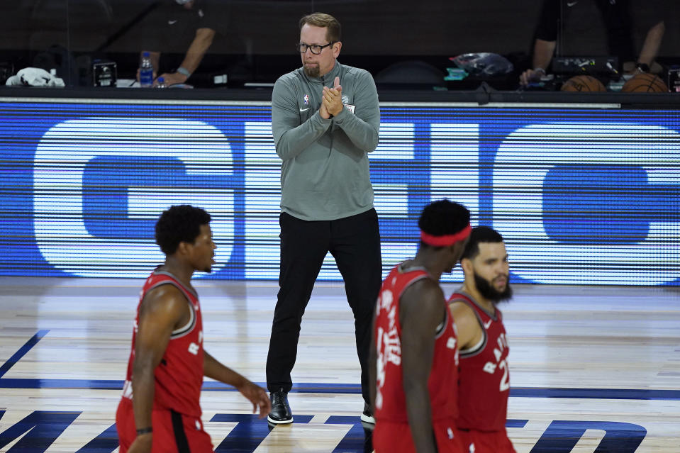 Raptors coach Nick Nurse ran away with the league's top coaching award on Saturday, earning 90 of a possible 100 first place votes. (Ashley Landis-Pool/Getty Images)