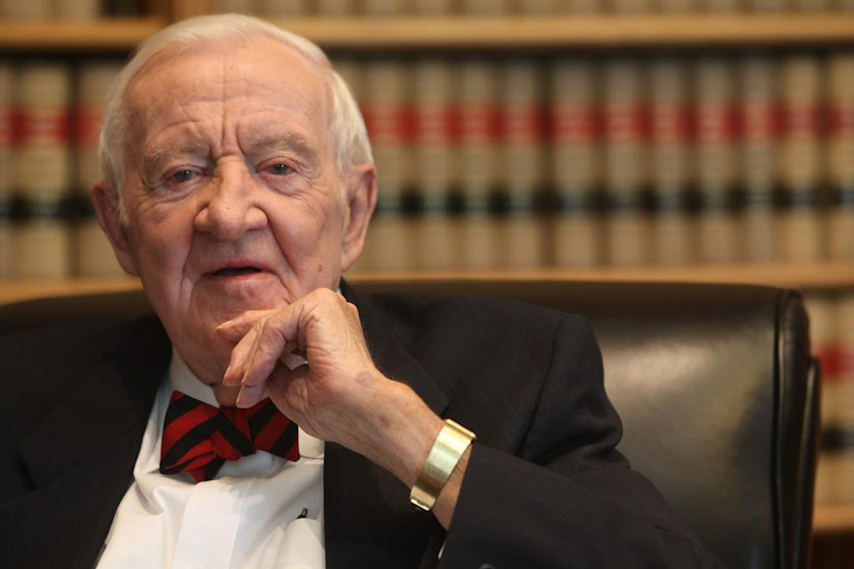 Former Supreme Court associate justice John Paul Stevens was interviewed by USA TODAY in his chambers at the court in Washington on April 17, 2014.