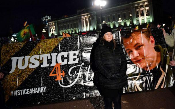 PHOTO: Harry Dunn's mother Charlotte Charles stands in front of a banner outside the Buckingham Palace at a demonstration during President Donald Trump's visit for the NATO summit, in London, Dec. 3, 2019. (Dylan Martinez/Reuters, FILE)