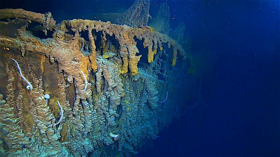 Undated handout photo issued by Atlantic Productions of new images of the side of the RMS Titanic in her resting place at the bottom of the North Atlantic Ocean taken during a survey of the wreckage from a manned submersible on an expedition in early August.
