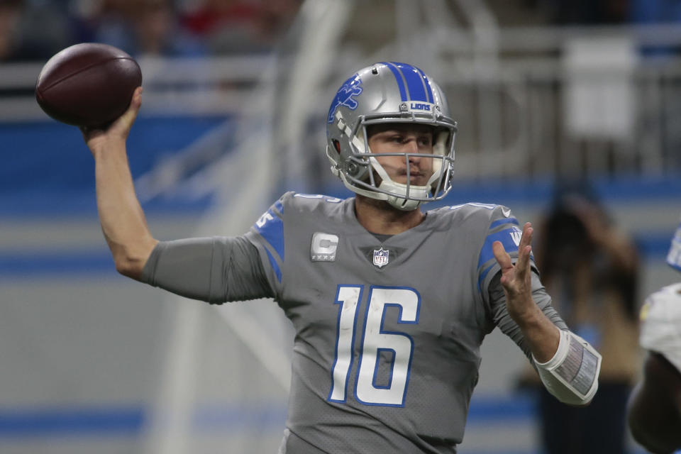 Detroit Lions quarterback Jared Goff (16) throws against the Baltimore Ravens in the first half of an NFL football game in Detroit, Sunday, Sept. 26, 2021. (AP Photo/Tony Ding)