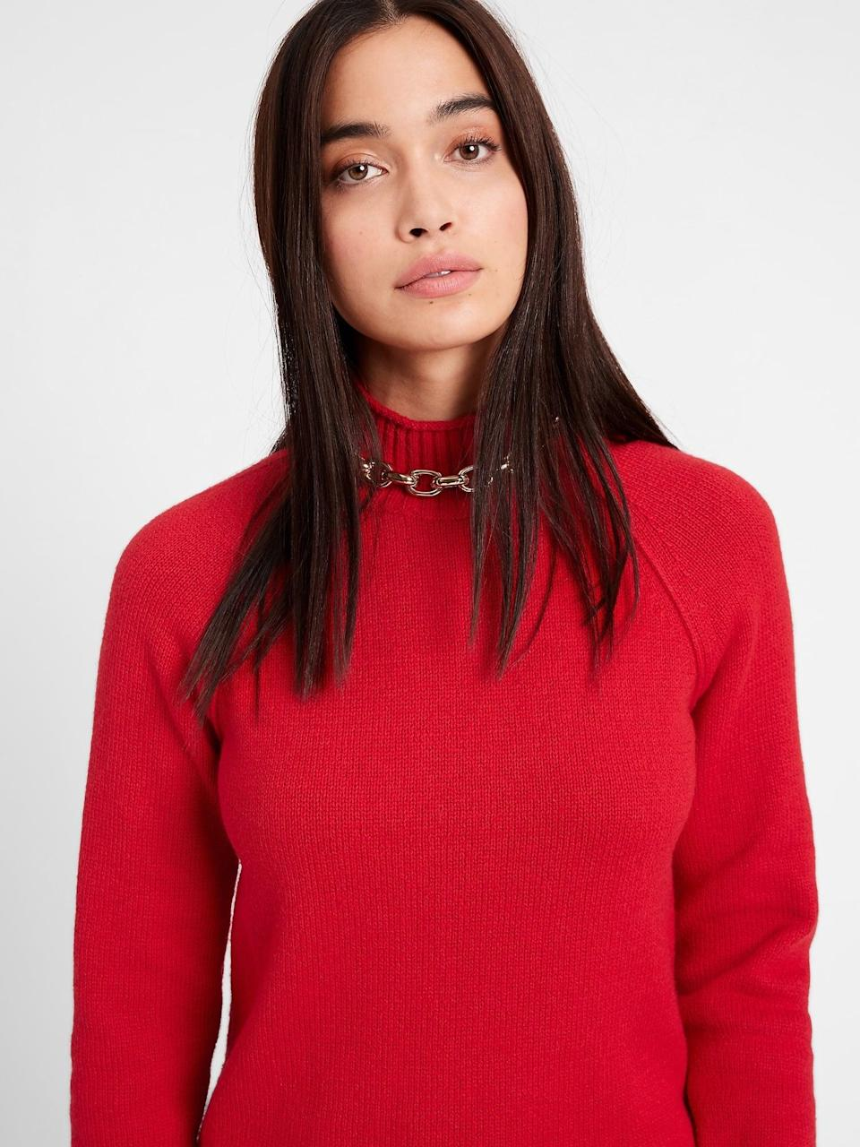 """<p>We love a <a href=""""https://www.popsugar.com/fashion/best-sweaters-from-gap-and-banana-republic-48032294"""" class=""""link rapid-noclick-resp"""" rel=""""nofollow noopener"""" target=""""_blank"""" data-ylk=""""slk:chunky red knit"""">chunky red knit</a> here. A soft <span>Banana Republic Chunky Mock-Neck Sweater</span> ($23, originally $80) is a showstopper for a great deal and can be worn season after season.</p>"""