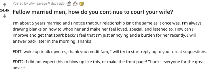 A Reddit user asked for advice on how to reignite the 'spark' in his marriage. Photo: Reddit.