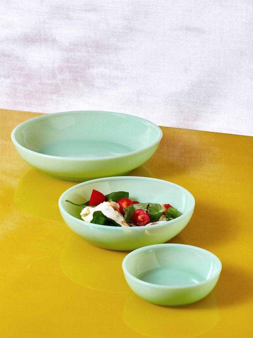 <p>Fill your kitchen with this <span>Mosser Glass Jadeite Milk Glass Dinnerware</span> ($30).</p>