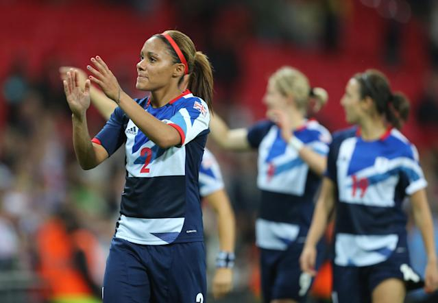 Alex Scott of Team GB Women during the 2012 London Olympic Summer Games at Wembley Stadium, London, England, UK on July 31st 2012 (Photo by AMA/Corbis via Getty Images)
