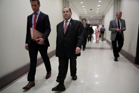 House Judiciary Committee Chairman Nadler departs after news conference to discuss congressional investigations into Trump administration on Capitol Hill in Washington