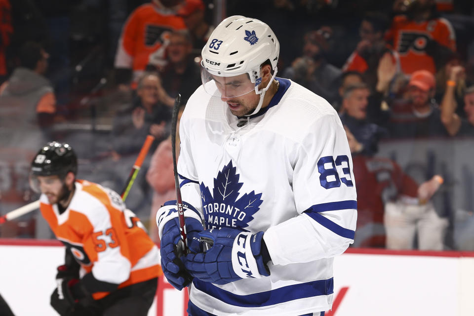PHILADELPHIA, PA - DECEMBER 03: Cody Ceci #83 of the Toronto Maple Leafs looks on after a goal by the Philadelphia Flyers in the third period at the Wells Fargo Center on December 3, 2019 in Philadelphia, Pennsylvania. The Flyers defeated the Maple Leafs 6-1. (Photo by Mitchell Leff/Getty Images)