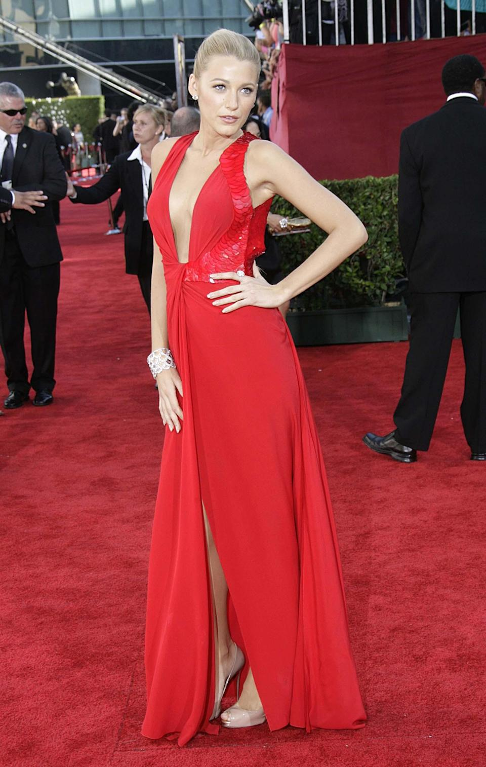 <p>Even in 2009 – a period most of us would rather forget, Blake stuns in bright red at the Emmy Awards.<br><i>[Photo: Getty]</i> </p>