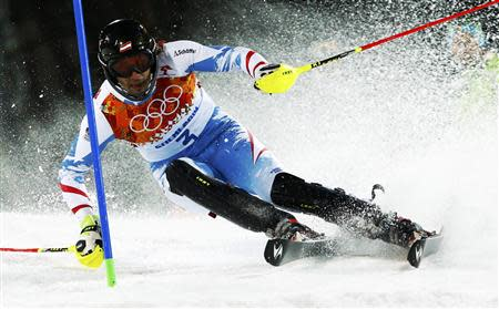 Austria's Matt skis during the second run of the men's alpine skiing slalom event at the 2014 Sochi Winter Olympics