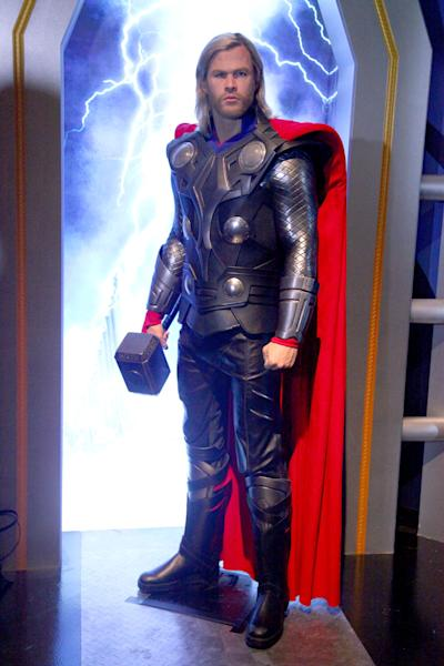 A wax figure of Thor, as portrayed by actor Chris Hemsworth, appears at the Madame Tussauds New York on April 26, 2012 (AFP Photo/Astrid Stawiarz)