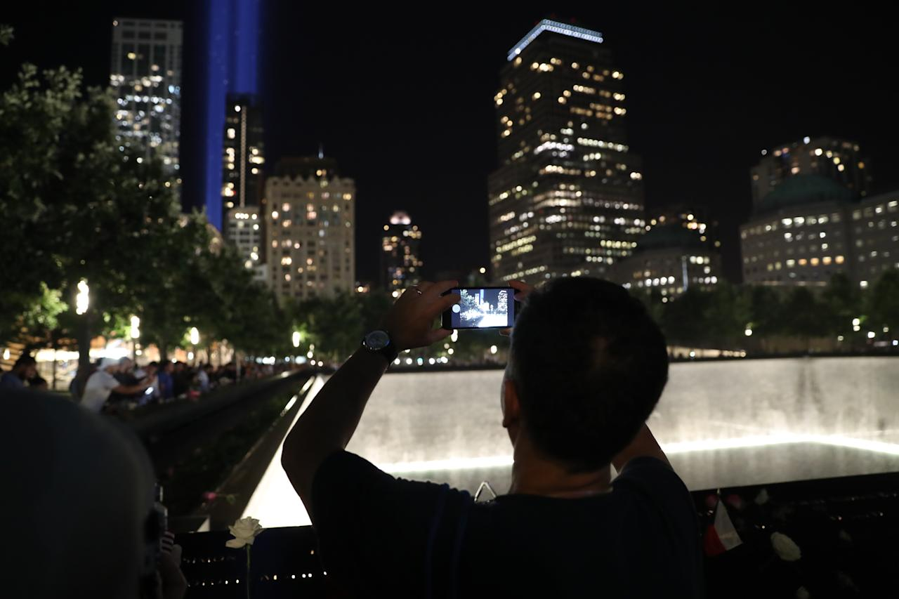 <p>The Tribute in Light rises above the New York skyline at the National September 11 Memorial & Museum on Sept. 11, 2017. (Gordon Donovan/Yahoo News) </p>