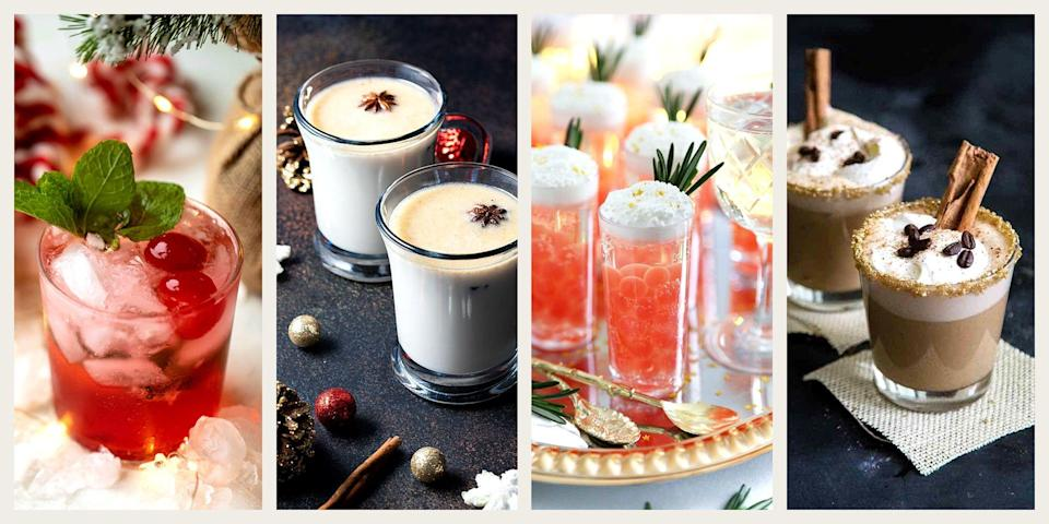 """<p>You've heard of 25 days of Christmas, but are you familiar with the surest way to have an extra merry holiday season? It's called 25 days of cocktails. Think of this <a href=""""https://www.oprahdaily.com/life/g33623616/christmas-traditions/"""" rel=""""nofollow noopener"""" target=""""_blank"""" data-ylk=""""slk:new tradition"""" class=""""link rapid-noclick-resp"""">new tradition</a> as a DIY <a href=""""https://www.oprahdaily.com/life/g29267639/best-wine-advent-calendars/?slide=1"""" rel=""""nofollow noopener"""" target=""""_blank"""" data-ylk=""""slk:boozy advent calendar"""" class=""""link rapid-noclick-resp"""">boozy advent calendar</a> of sorts. </p><p>Here's the gist: You get your hygge on in your <a href=""""https://www.oprahdaily.com/style/g28357459/family-christmas-pajamas/"""" rel=""""nofollow noopener"""" target=""""_blank"""" data-ylk=""""slk:matching family jammies"""" class=""""link rapid-noclick-resp"""">matching family jammies</a>, all while getting extra festive, with a slew of <a href=""""https://www.oprahdaily.com/life/food/g28099287/fall-cocktails/"""" rel=""""nofollow noopener"""" target=""""_blank"""" data-ylk=""""slk:seasonal cocktails"""" class=""""link rapid-noclick-resp"""">seasonal cocktails</a> that have a distinctly Christmas spin. Think mistletoe martinis (bright red ones garnished with, what else, mistletoe) to sip on over dinner, spiked peppermint <a href=""""https://www.oprahdaily.com/life/food/g37562368/best-hot-chocolate-mix/"""" rel=""""nofollow noopener"""" target=""""_blank"""" data-ylk=""""slk:hot chocolate"""" class=""""link rapid-noclick-resp"""">hot chocolate </a>for binge watching Hallmark movies, and Champagne shooters perfect for toasting on Christmas Eve. </p><p>Of course, you don't have to indulge on a daily basis. There are plenty of recipes to cherry pick from if you're hosting <a href=""""https://www.oprahdaily.com/life/g29528415/christmas-party-theme-ideas/"""" rel=""""nofollow noopener"""" target=""""_blank"""" data-ylk=""""slk:a holiday party"""" class=""""link rapid-noclick-resp"""">a holiday party</a>. Think: mimosas or a Grinch-inspired punch for a Christmas day open house or pear-s"""