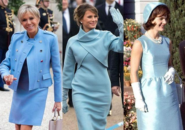 Style in a cool tone: Brigitte Macron, Melania Trump, and Jacqueline Kennedy. (Photo: Getty Images)