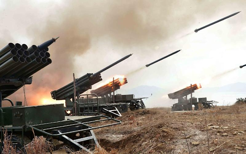 North Korea regularly test-fires missiles and rockets at times of joint US-South Korea military exercises, which always spark a sharp surge in tensions on the divided peninsula