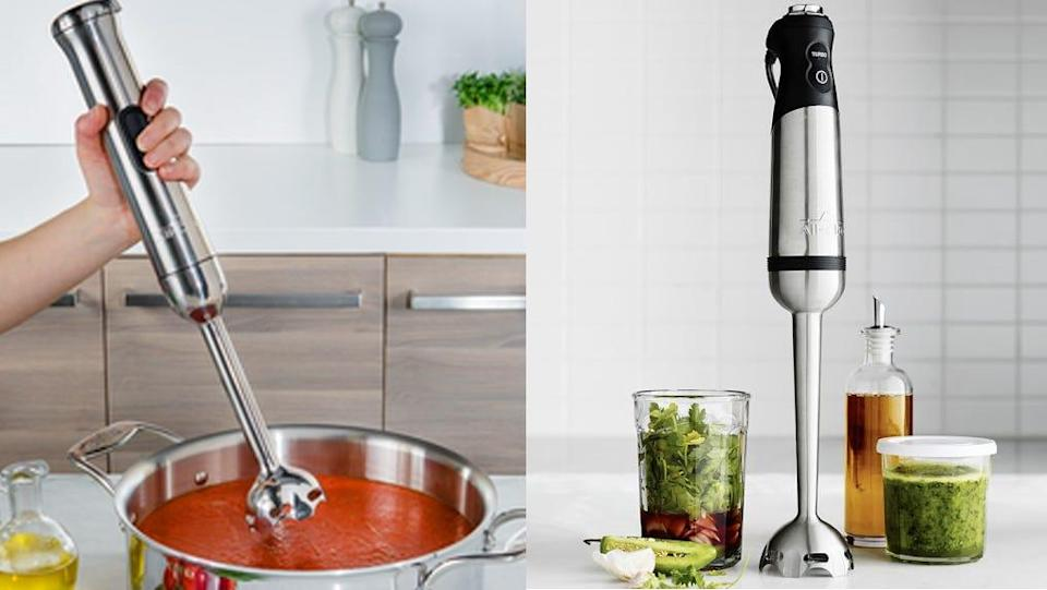 Whip up pesto, soups, sauces, and more with the All-Clad immersion blender.