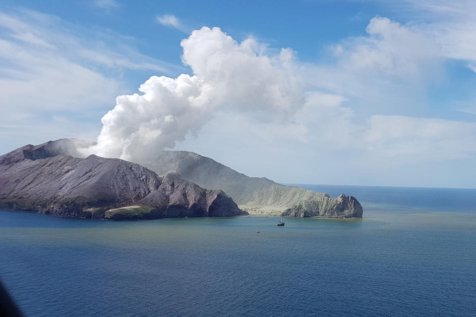 The volcano shown erupting on White Island, New Zealand, on Monday. Source: AAP