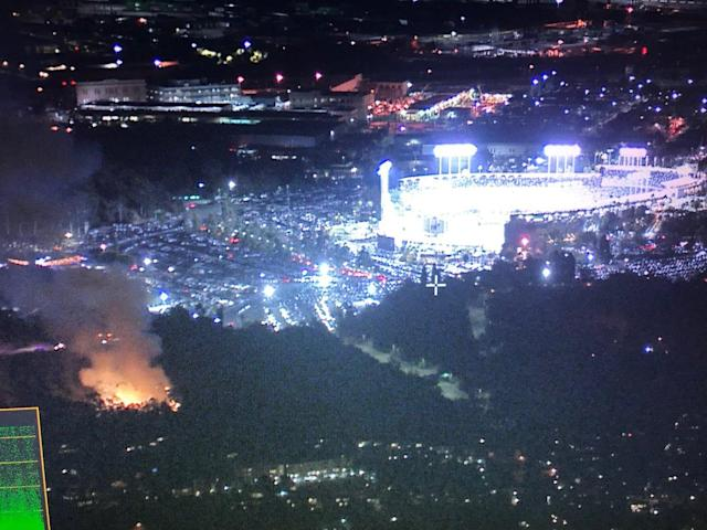 Two small fires broke out near Dodger Stadium during Game 2 of the World Series. (Stu Mandel)