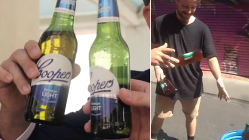 L: The beer featured in the video R: Sircuit General Manager Chris throwing out Coopers in response.