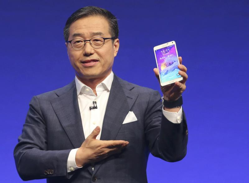 Samsung President Lee presents the new phablet Galaxy Note 4 at the Unpacked 2014 Episode 2 event ahead of the IFA Electronics show in Berlin