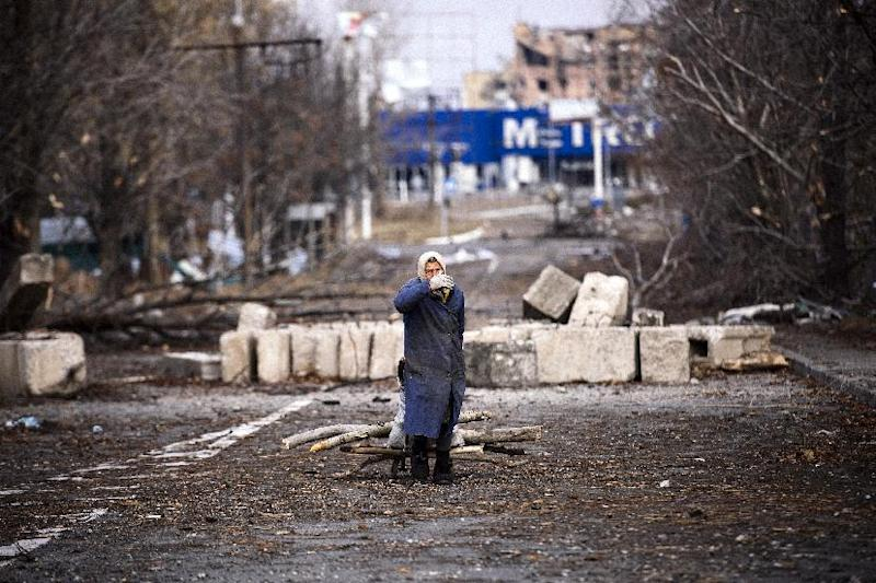 An elderly woman pulls а cart with firewood near Donetsk airport in eastern Ukraine, on November 3, 2014 (AFP Photo/Dimitar Dilkoff)