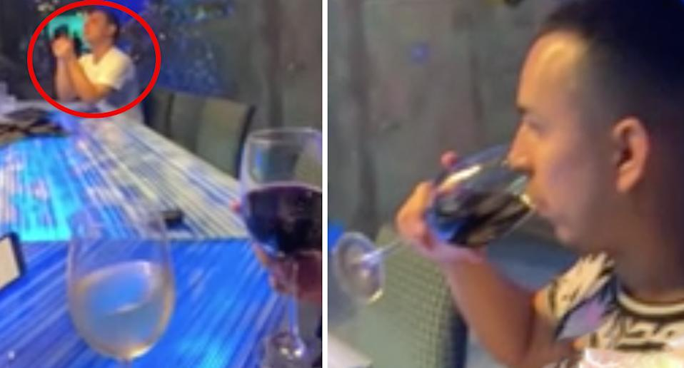 The suspect is seen in the video (left) while Gabriel Vargas takes a drink moment before his death (right). Source: KPRC