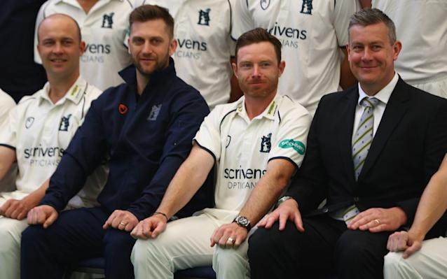 <span>Warwickshire leadership group:Jonathan Trott, Jim Troughton the Director of Cricket, Ian Bell the captain and Ashley Giles</span> <span>Credit: Getty </span>