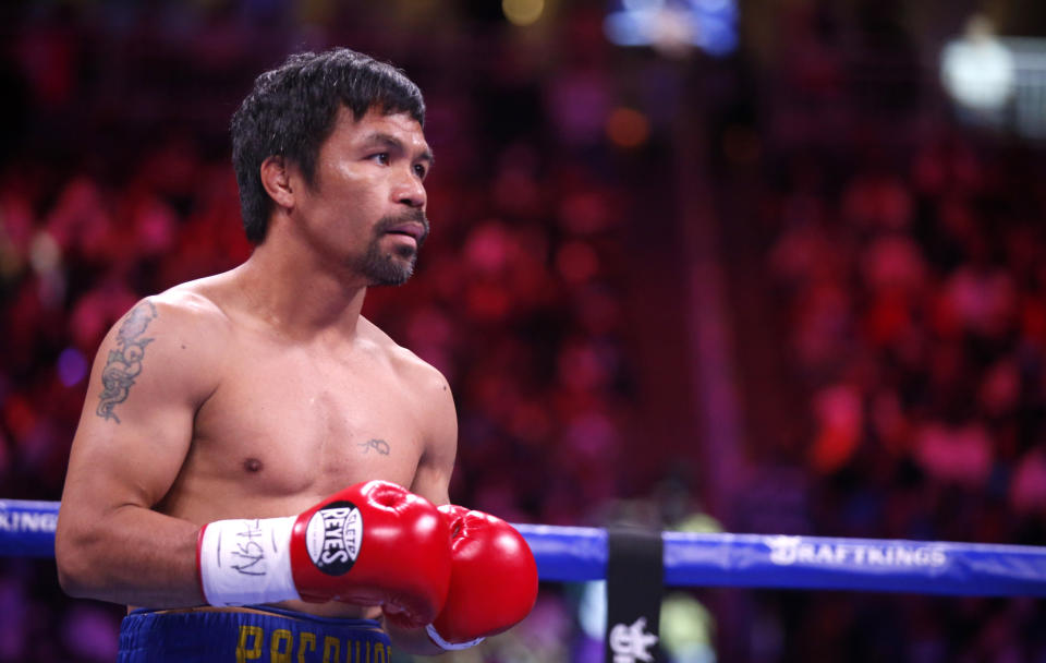 LAS VEGAS, NEVADA - AUGUST 21:  Manny Pacquiao prepares for a WBA welterweight title fight against Yordenis Ugas at T-Mobile Arena on August 21, 2021 in Las Vegas, Nevada. Ugas retained the title by unanimous decision.  (Photo by Steve Marcus/Getty Images)