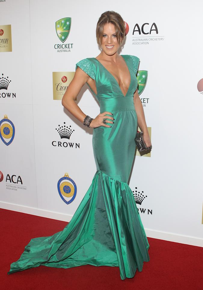 MELBOURNE, AUSTRALIA - FEBRUARY 27:  Julia Barry arrives at the 2012 Allan Border Medal Awards at Crown Palladium on February 27, 2012 in Melbourne, Australia.  (Photo by Lucas Dawson/Getty Images)