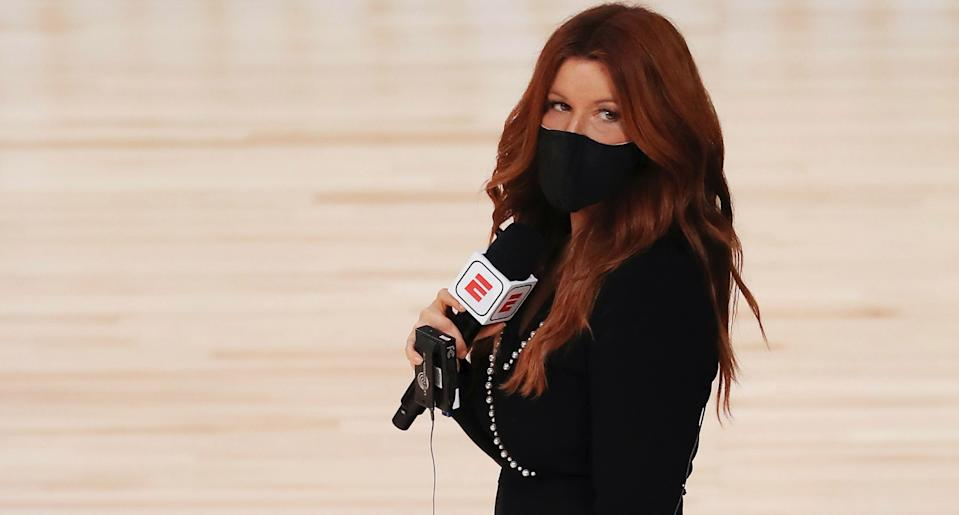 ESPN reporter Rachel Nichols stands on the court before a game between the Houston Rockets and the Dallas Mavericks at The Arena at ESPN Wide World Of Sports Complex on July 31, 2020 in Lake Buena Vista, Florida. NOTE TO USER: User expressly acknowledges and agrees that, by downloading and or using this photograph, User is consenting to the terms and conditions of the Getty Images License Agreement. (Photo by Mike Ehrmann/Getty Images)