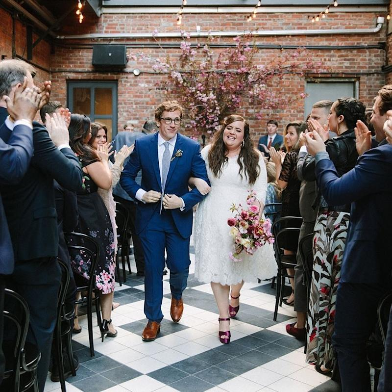 Aidy Bryant held her wedding to the comedy writer Conner O'Malley in—gasp!—Brooklyn, against the backdrop of the expose brick of the Wythe Hotel (and in the company of some of her costars from SNL).