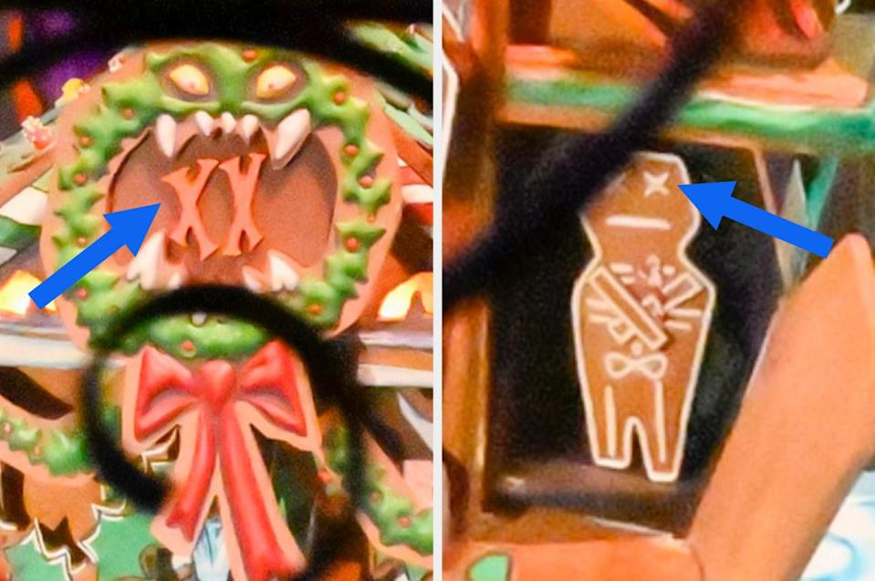 Close up of the wreath on the cake with XX in the middle and a gingerbread man cookie with XX for eyes