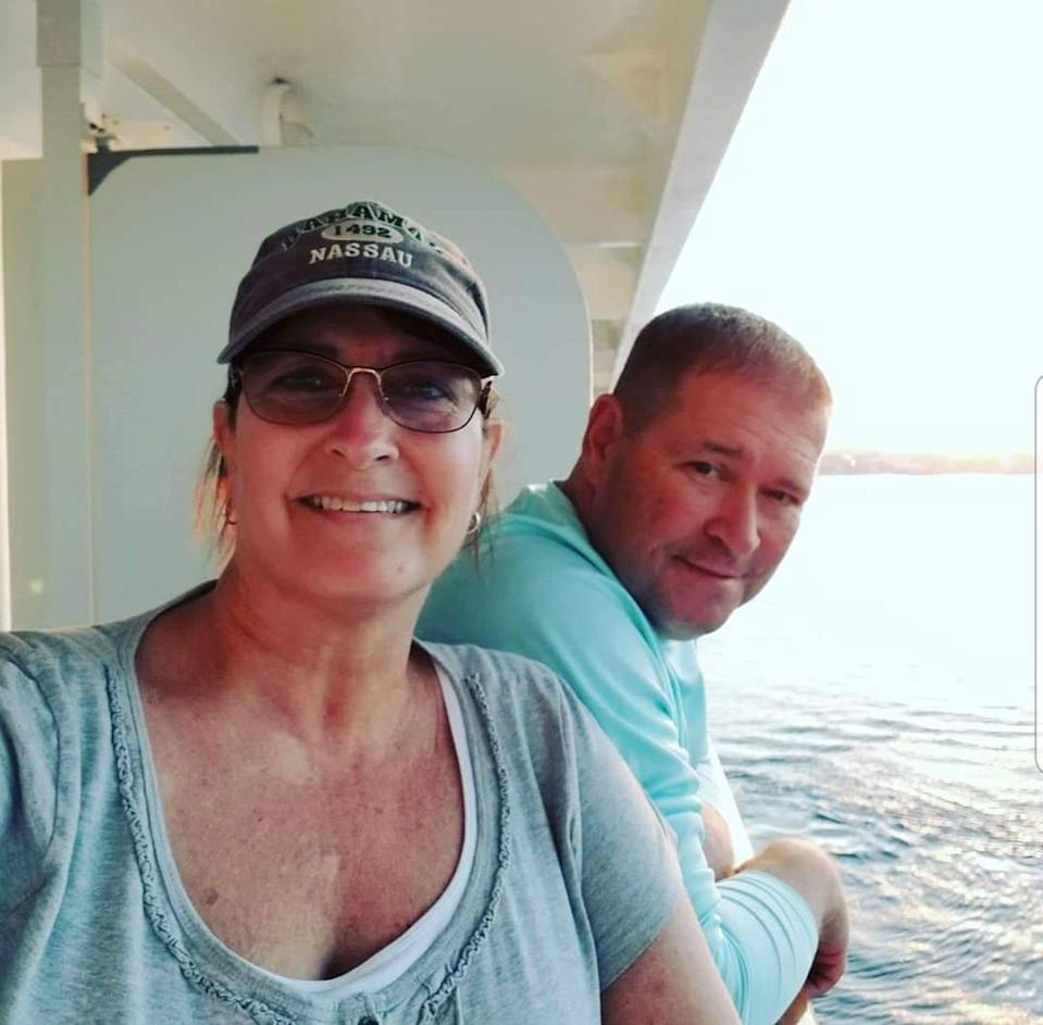 "<p>""My husband and I met 14 years ago online! We dated and lived together for eight years before getting married. We love to travel and take trips on our boat. We are true soulmates!"" —Geri Buckley</p>"
