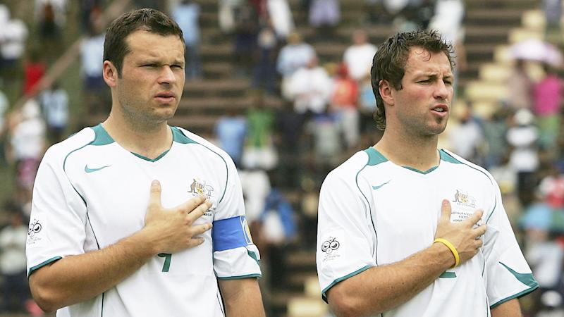 Seen here, Mark Viduka and Lucas Neill during their Socceroos playing days.