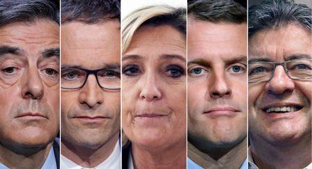 A combination photo shows five candidates for the French 2017 presidential election