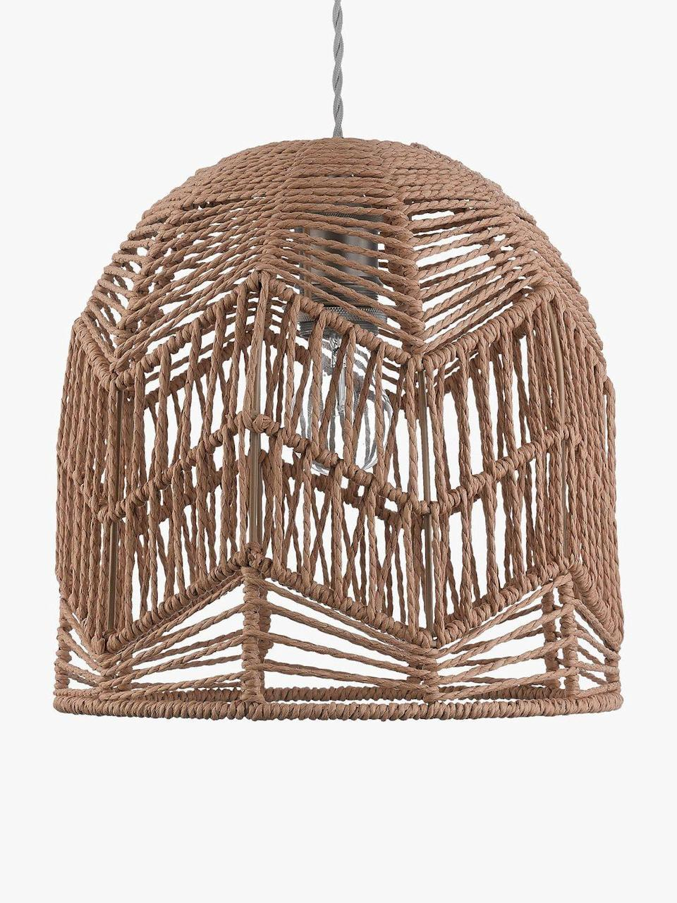 """<p>This John Lewis lampshade introduces organic and handmade elements, ideal for sustainably-minded homeowners who like to surround themselves with natural materials. It works well with neutral colours and plenty of plants.</p><p><strong>Shop now: <a href=""""https://www.johnlewis.com/john-lewis-partners-small-paper-string-easy-to-fit-ceiling-shade/p5111775"""" rel=""""nofollow noopener"""" target=""""_blank"""" data-ylk=""""slk:Small Paper String Ceiling Lampshade at John Lewis"""" class=""""link rapid-noclick-resp"""">Small Paper String Ceiling Lampshade at John Lewis</a></strong></p>"""