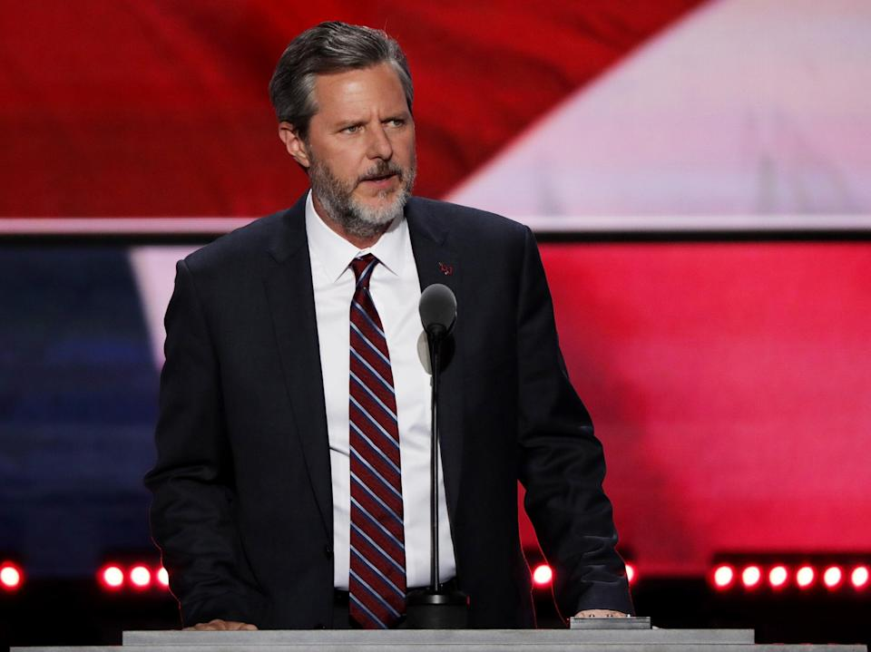 Jerry Falwell Jr, delivers a speech during the evening session on the fourth day of the Republican National Convention on 21 July, 2016 (Getty Images)