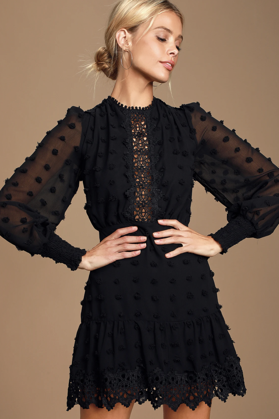 Fall wedding guest dresses: Lulus Lust or Love Embroidered Lace Long Sleeve Dress in Black (Photos via Lulus)