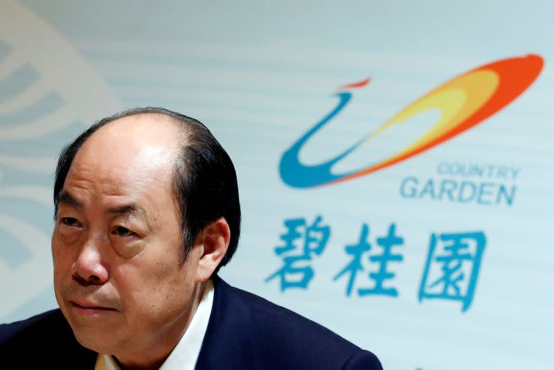 Country Garden Holdings Chairman and Executive Director Yeung Kwok-keung attends a news conference in Hong Kong