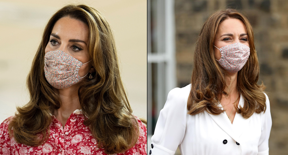 The Duchess of Cambridge seen wearing the floral face mask by Amaia Kids. (Getty Images)