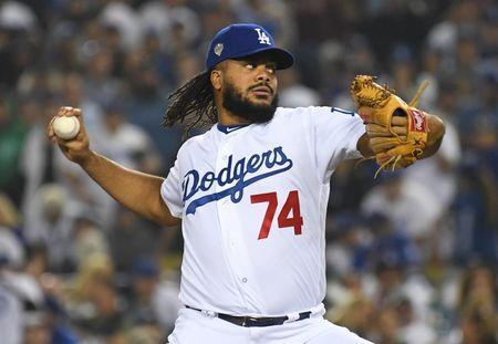 FILE PHOTO: Oct 27, 2018; Los Angeles, CA, USA; Los Angeles Dodgers pitcher Kenley Jansen throws a pitch against the Boston Red Sox in the eighth inning in game four of the 2018 World Series at Dodger Stadium. Mandatory Credit: Jayne Kamin-Oncea-USA TODAY Sports