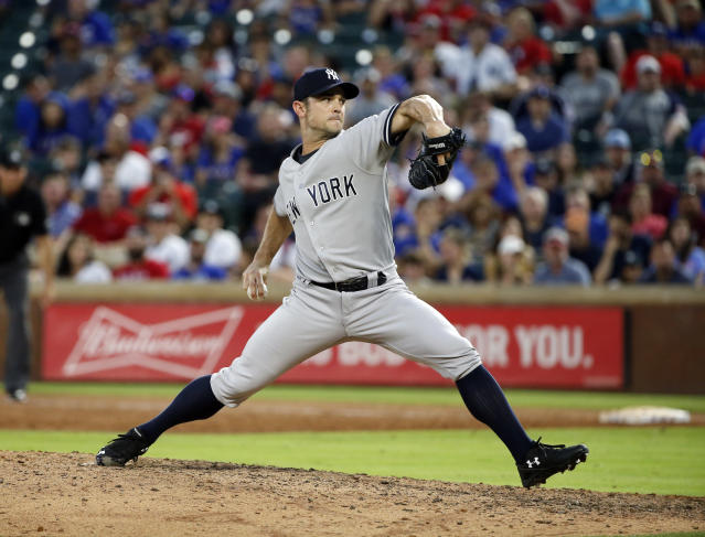 <p>New York Yankees relief pitcher David Robertson (30) pitches against the Texas Rangers during the sixth inning of a baseball game Wednesday, May 23, 2018, in Arlington, Texas. (AP Photo/Michael Ainsworth) </p>